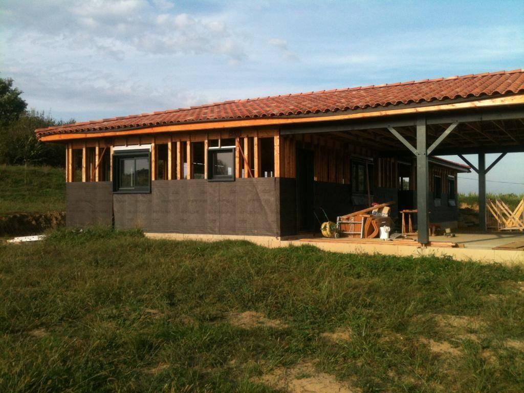 maison construction bois avec abris et garage bois pr s de nogaro dans le gers 32 r f 42