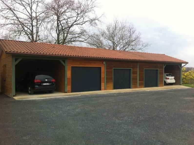 Construction de garages ou d 39 abris en bois dans le gers cogebois - Structure en bois pour garage ...
